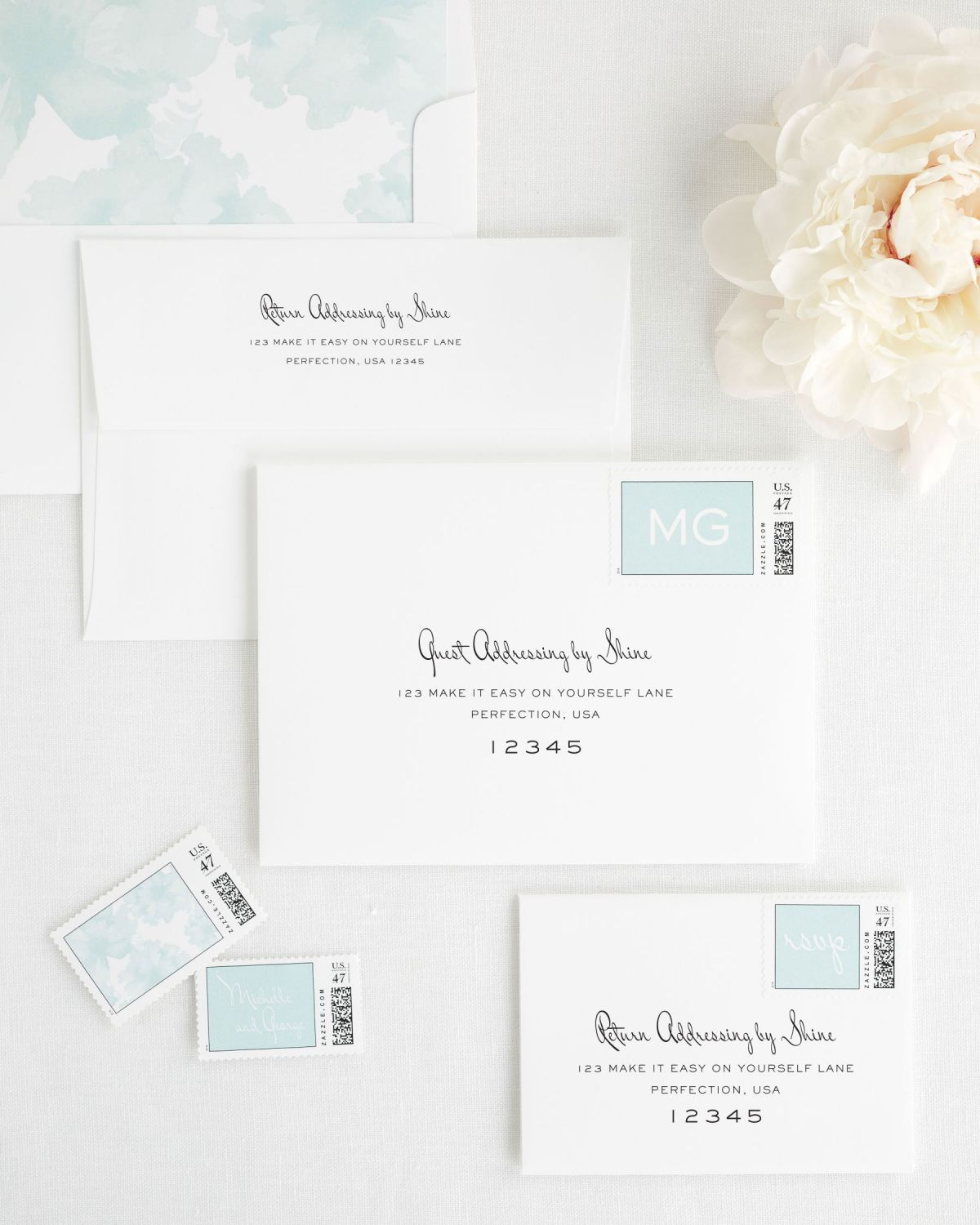 Wedding invitation Envelopes with Mint Custom Stamps