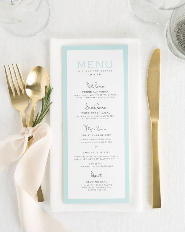 Modern Luxe Wedding Menus