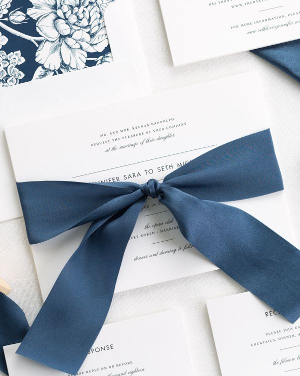 Modern Romance Ribbon Wedding Invitations