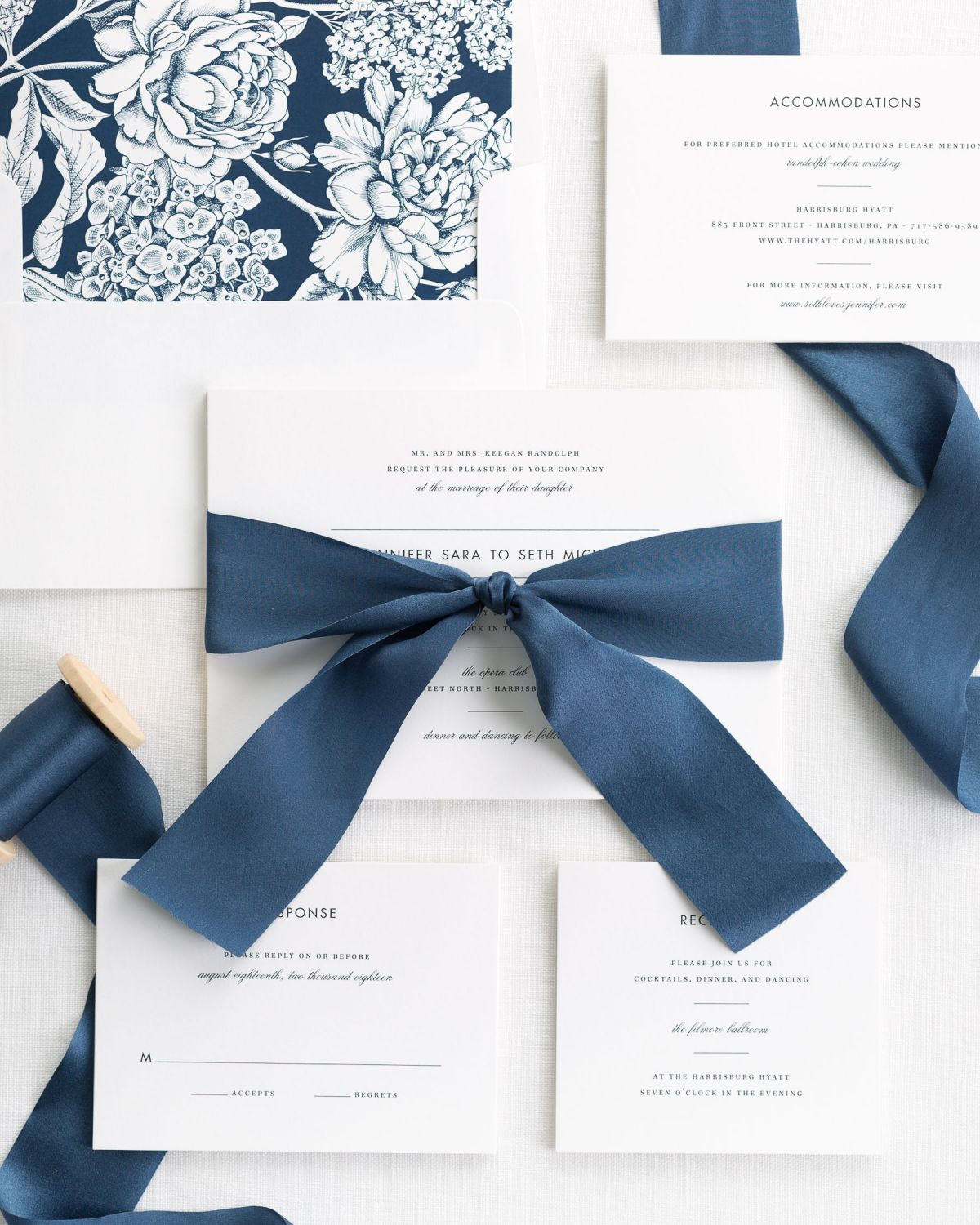 Complete Wedding Invitations with Navy Ribbon and Enclosures