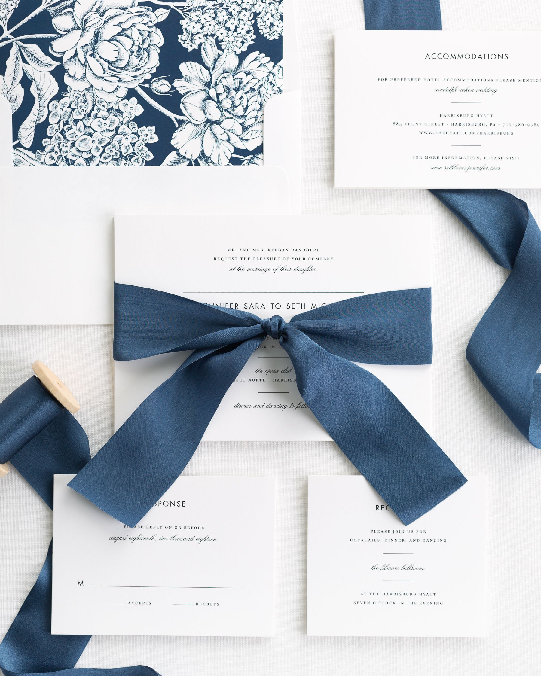 Wedding Invitations With Ribbons: Modern Romance Ribbon Wedding Invitations