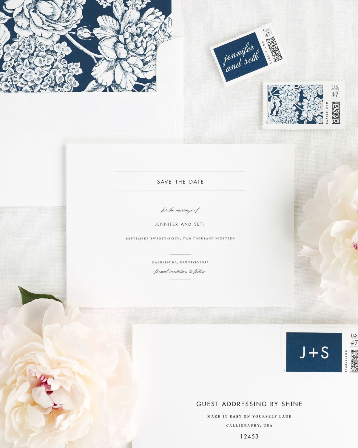 Save the Date with Navy Envelope Liner and Personalized Stamps
