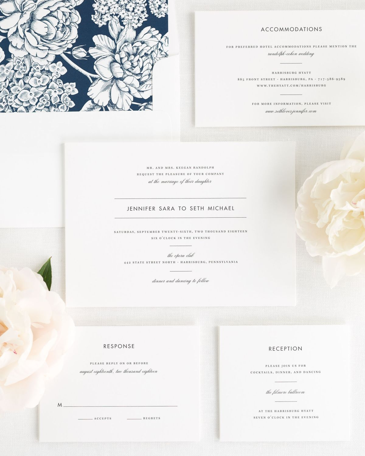 Wedding Invitation Suite with Navy Envelope Liner