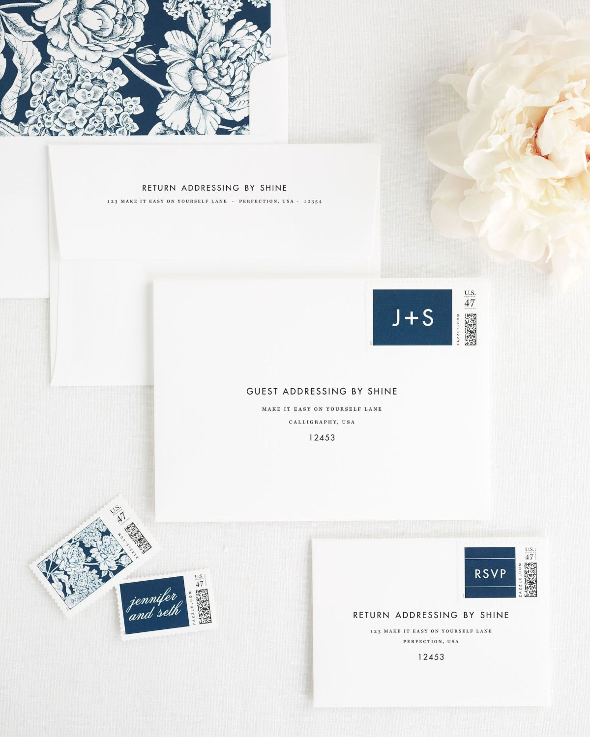 Wedding Invitation Envelopes with Navy Personalized Postage