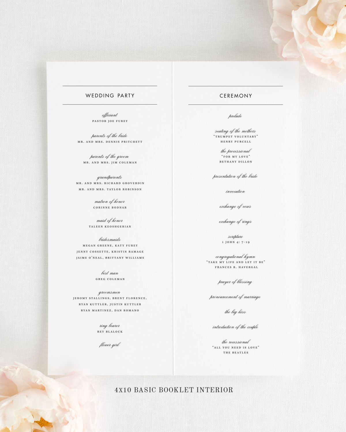 4x10 Wedding Program Interior