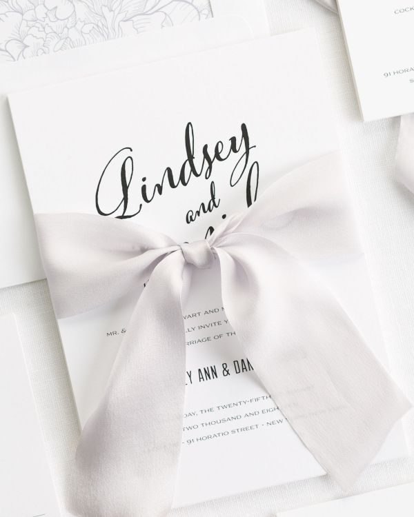 Modern Script Ribbon Wedding Invitations