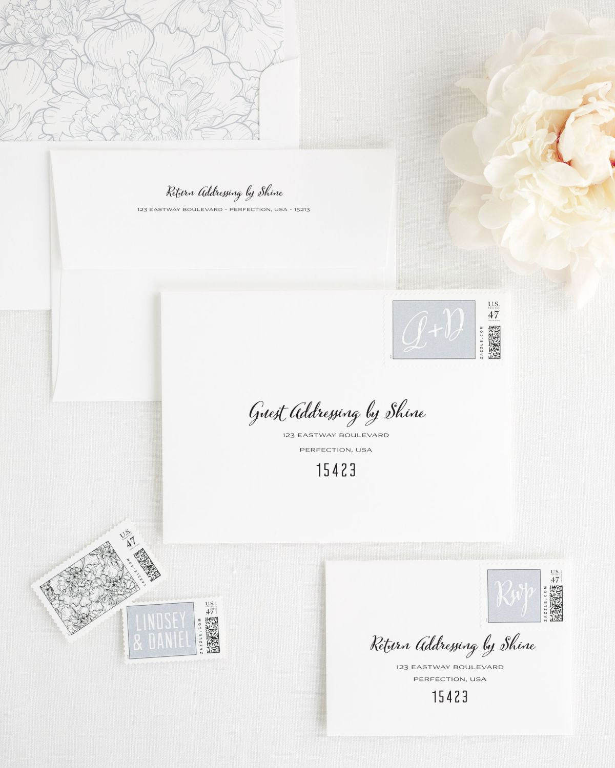 Wedding Invitation Envelopes with Computer Calligraphy and Matching Stamps