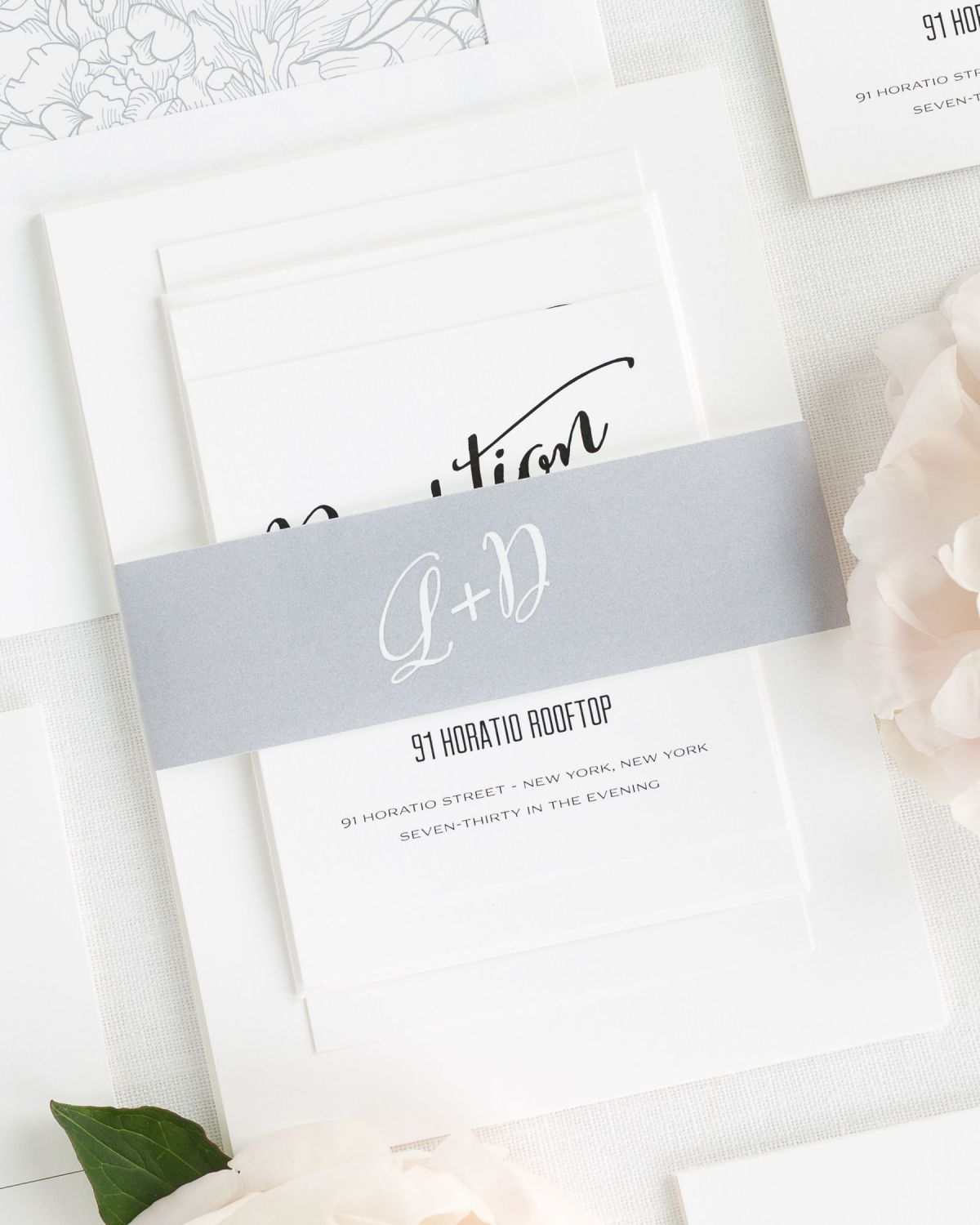 Silver Wedding Invitations with Belly band and Peony Envelope Liner