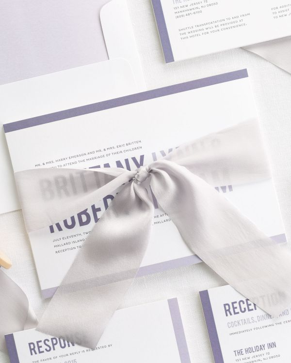 Modern Stack Ribbon Wedding Invitations