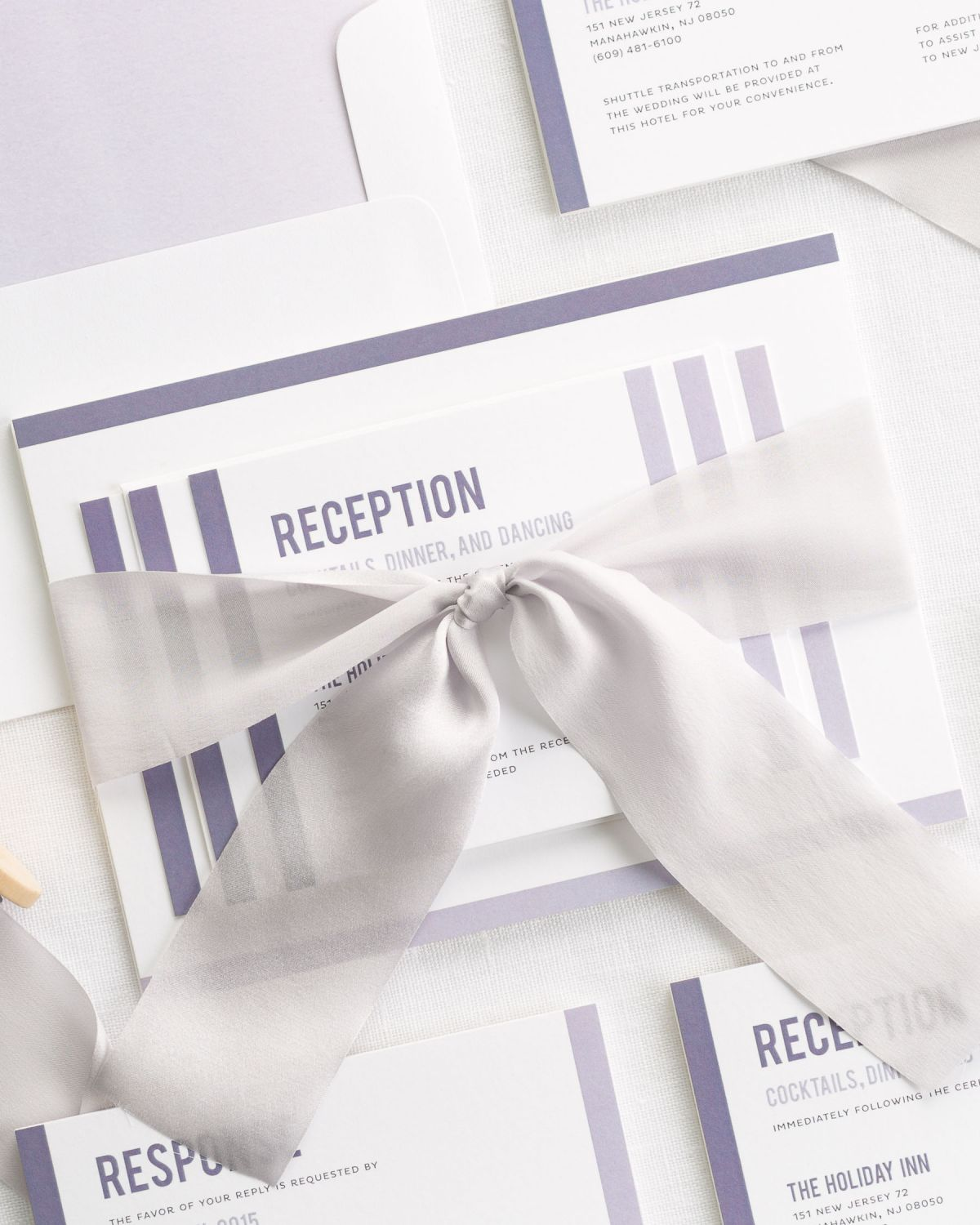 Purple Wedding Invitaitons with Silk Ribbon