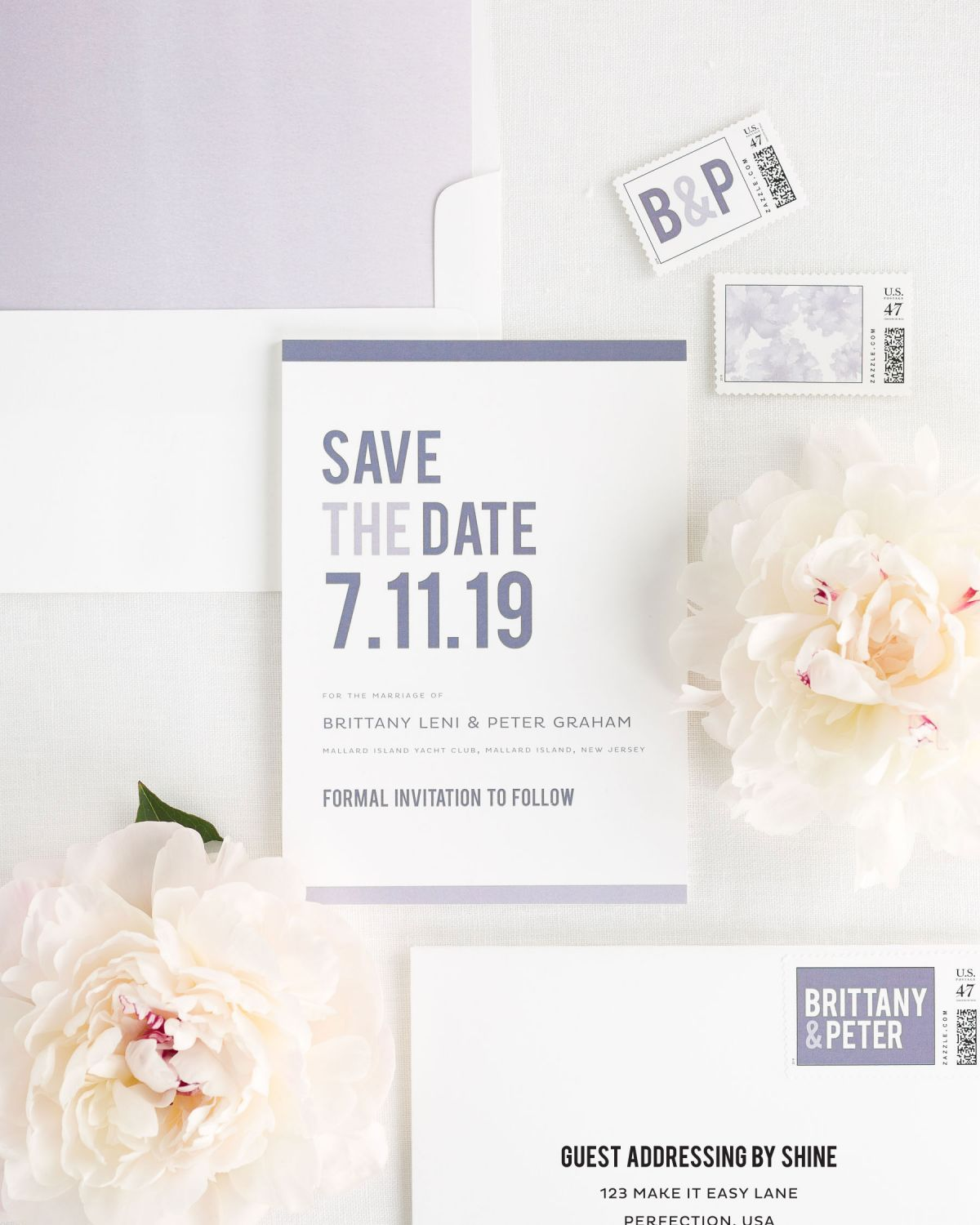 Save the Date with Lavender Envelope Liner and Personalized Postage