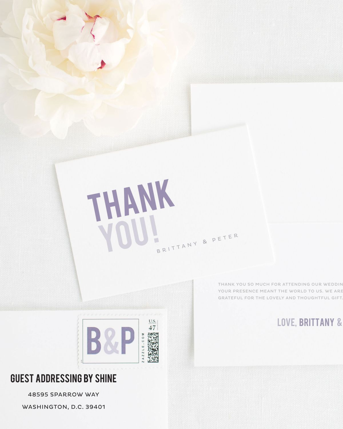 Bordered Thank You Cards for Weddings