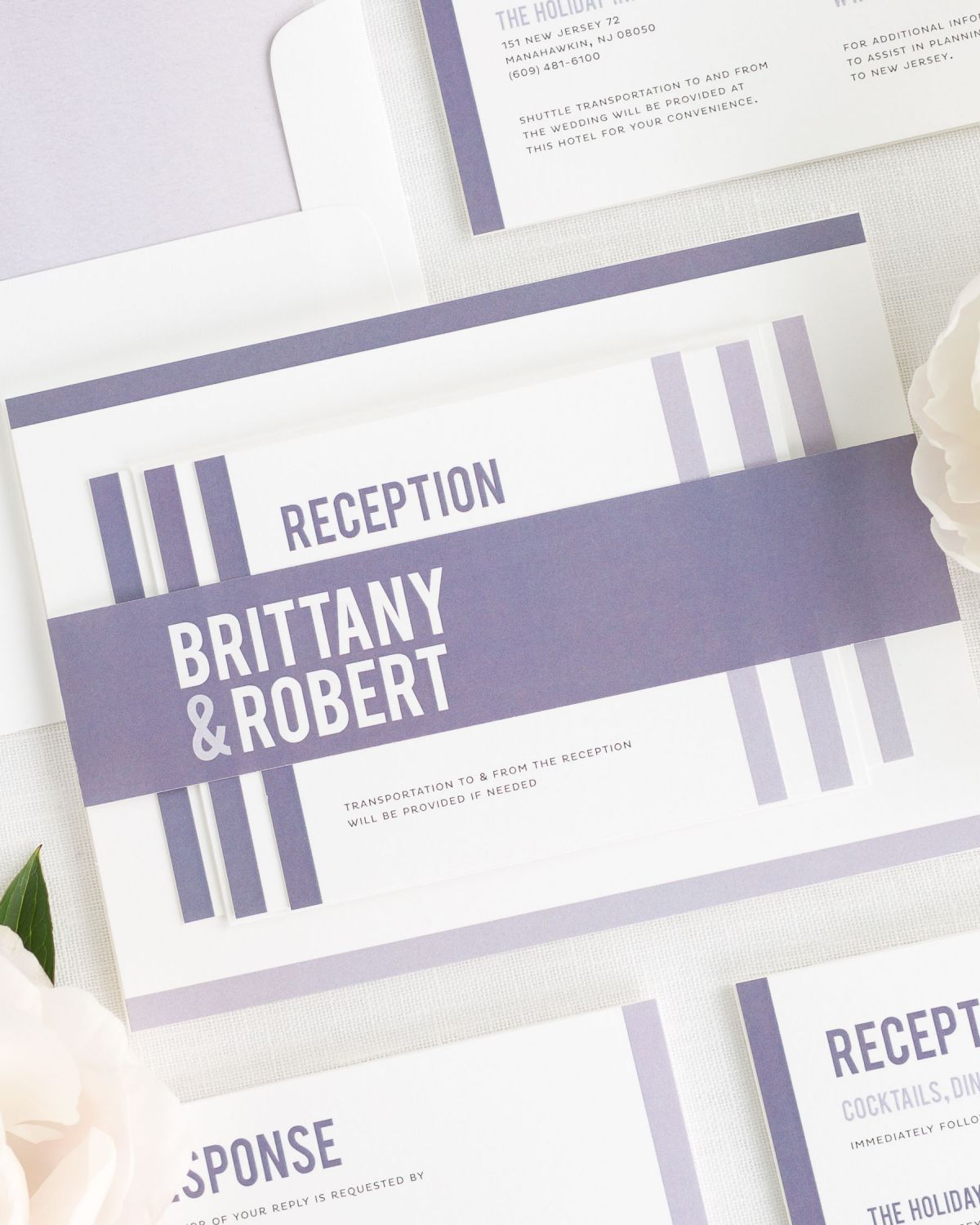 Dusk Wedding Invitations with Belly Band and Simple Watercolor Liner