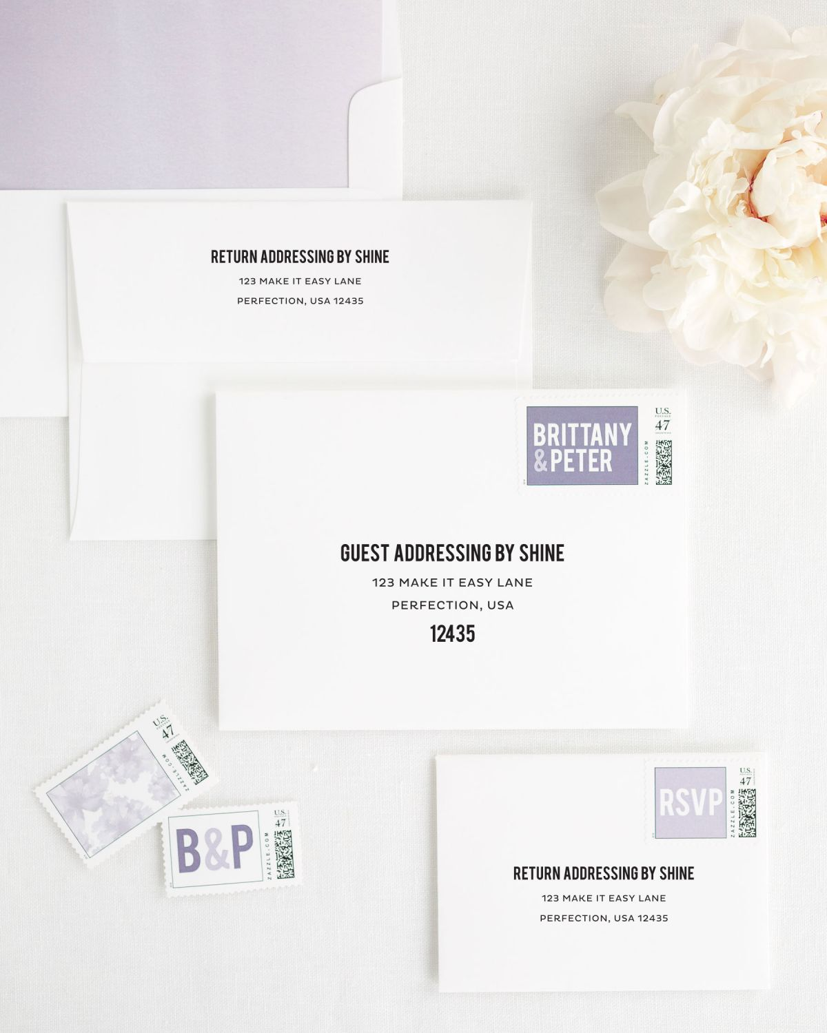 Wedding Invitation Envelopes with Lavender Custom Stamps and Watercolor Envelope Liner