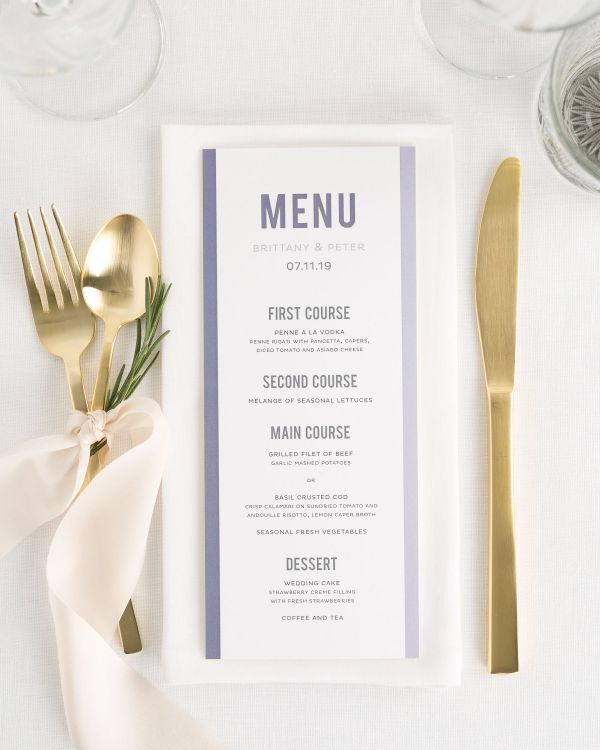 Modern Stack Wedding Menus