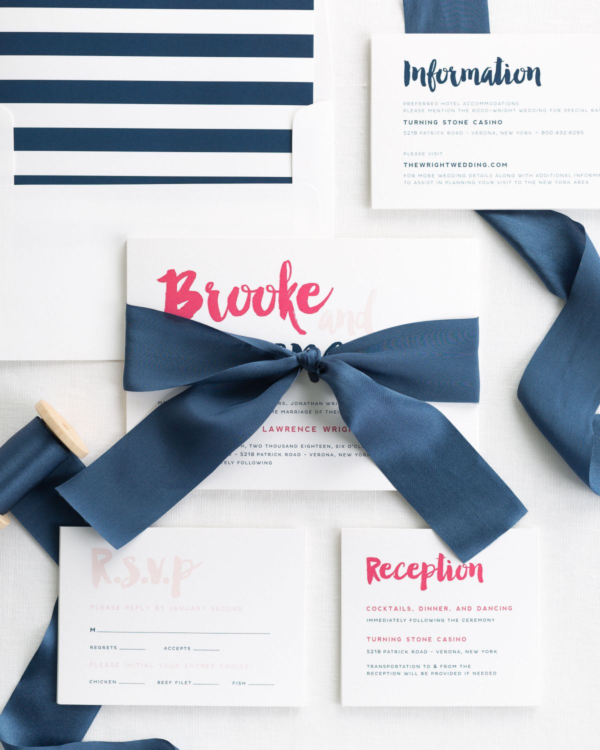 Complete Wedding Invitation Suite with Navy Ribbon and Enclosures