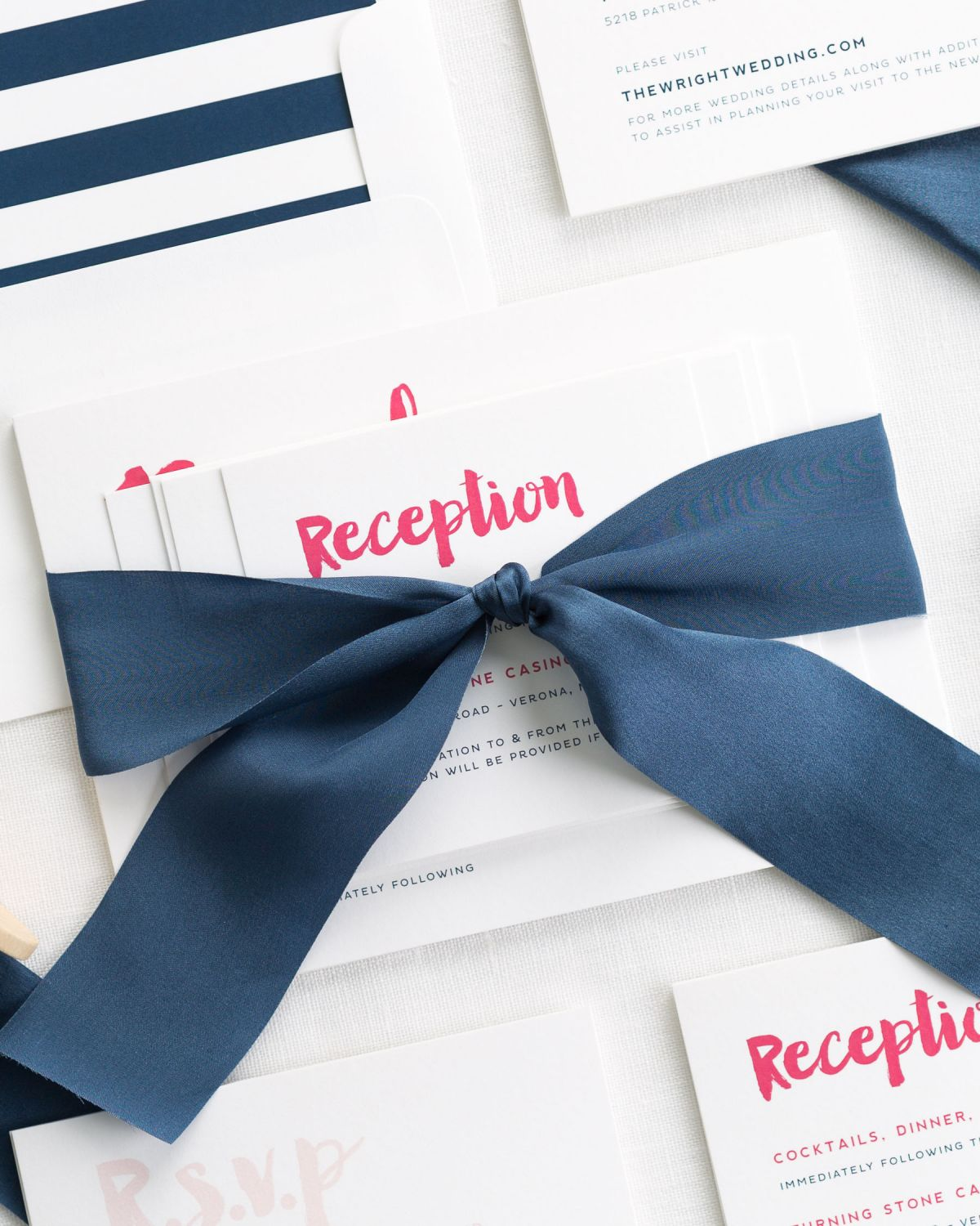 Navy and Pink Wedding Invitations with Silk Ribbon