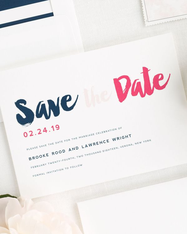 Modern Strokes Save the Date Cards