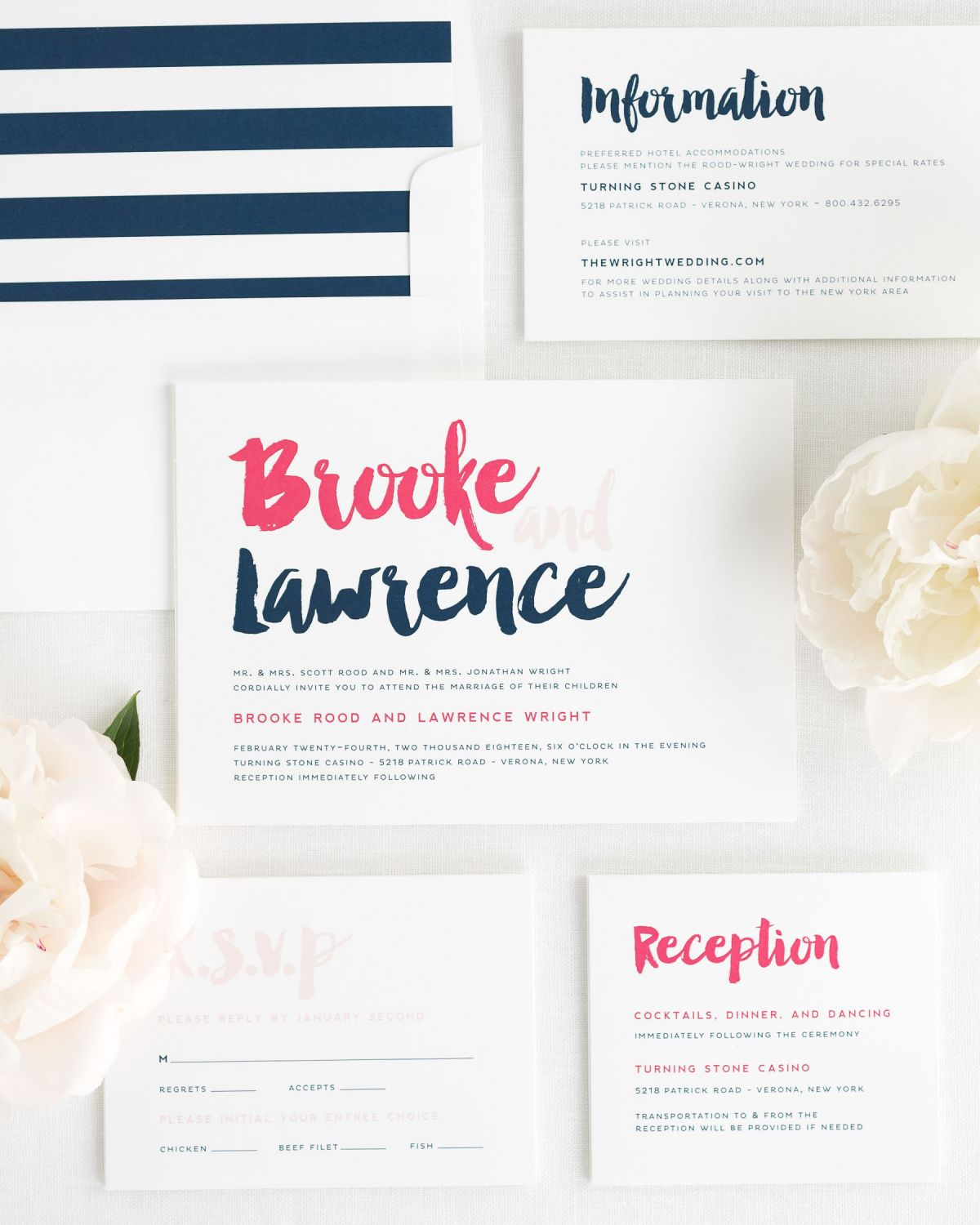 Modern Wedding Invitation Package with Watercolor Brush Font in Navy and Pink