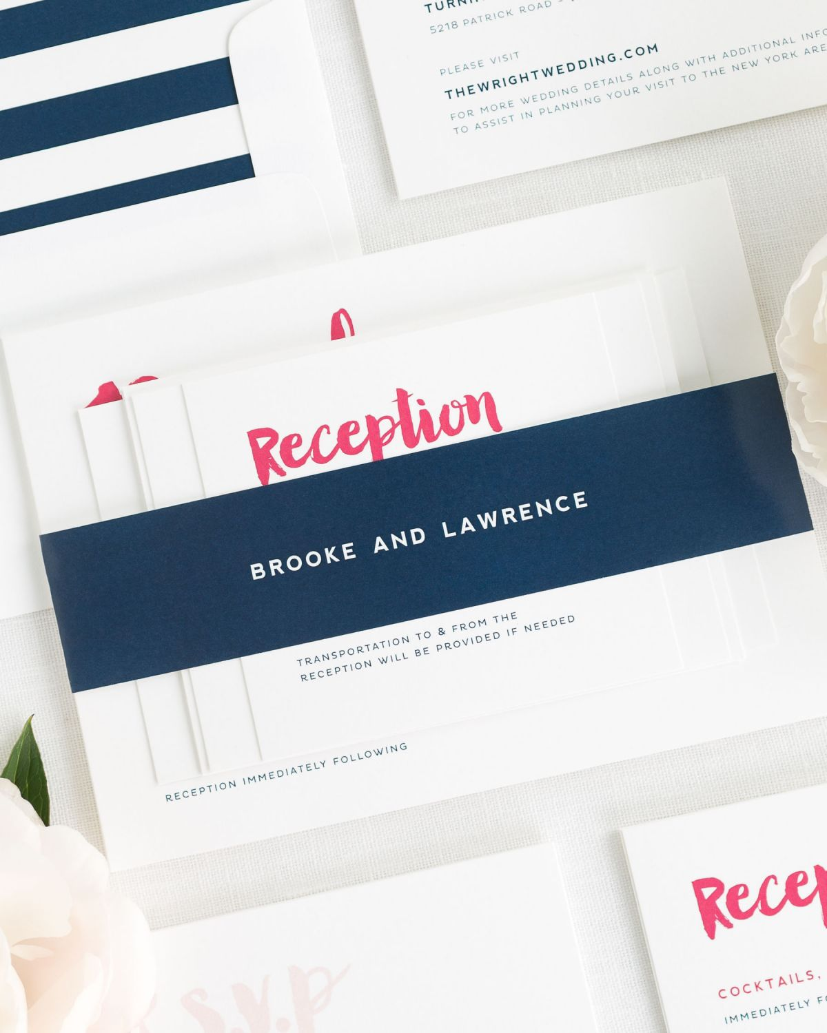 Modern Navy and Pink Wedding Invitations