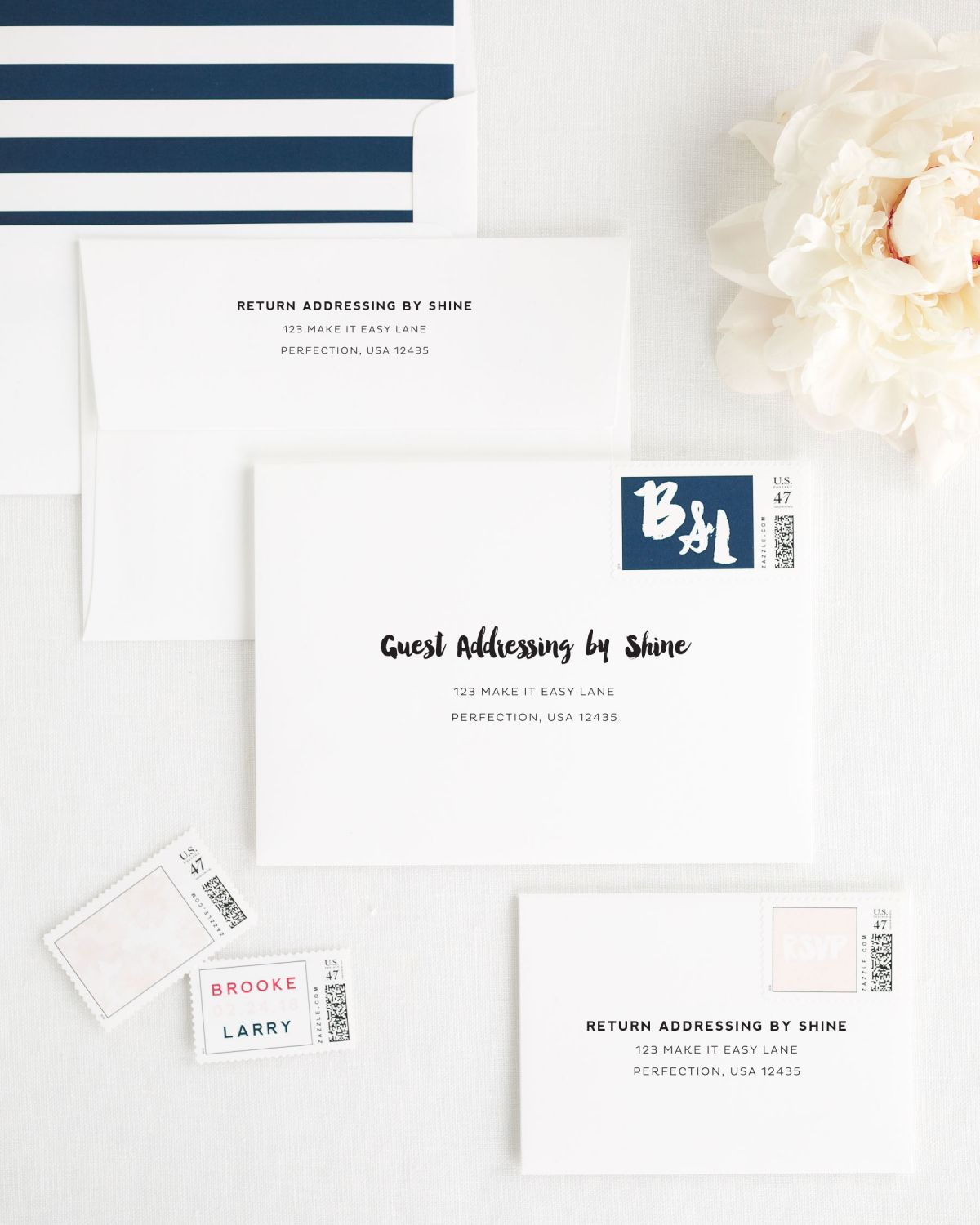 Modern Wedding Invitation Envelopes with Address Printing and Custom Stamps