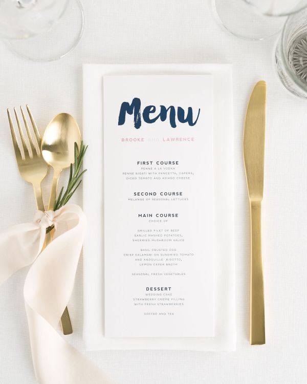 Modern Strokes Wedding Menus