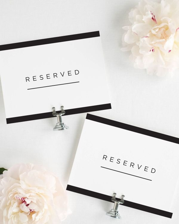 Modern Glamour Reserved Signs