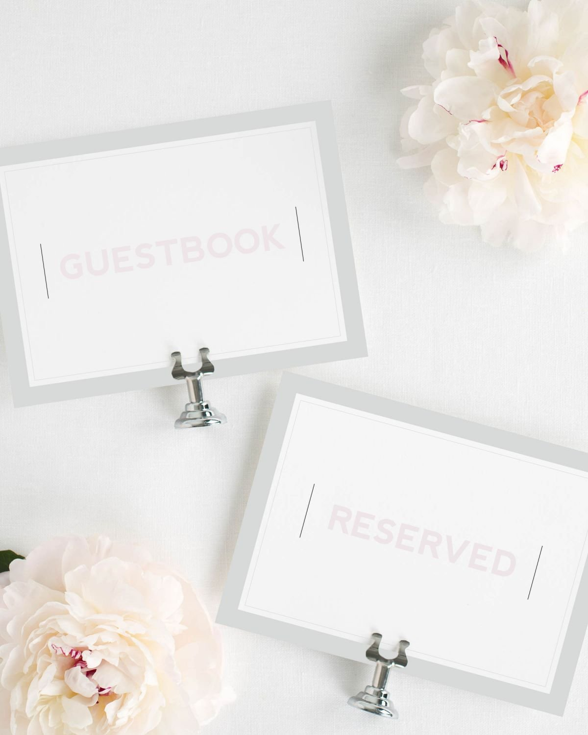 Guestbook and Reserved Signs with Border