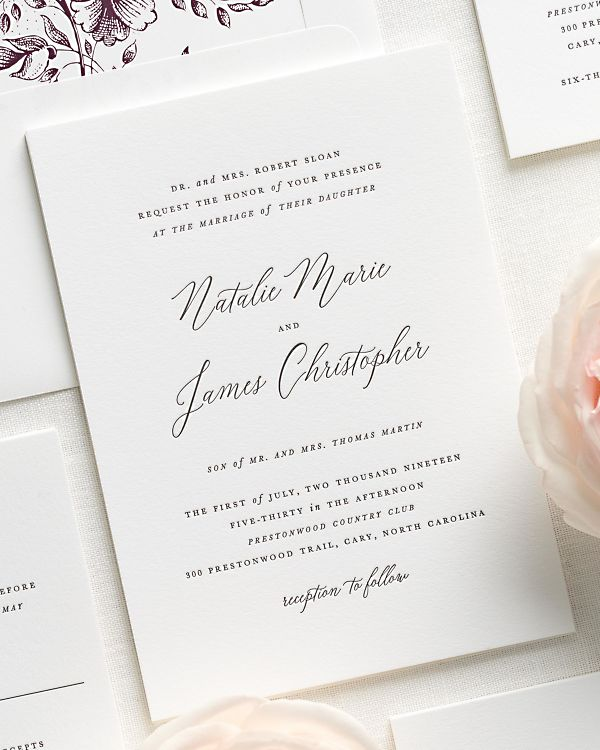 Natalie Letterpress Wedding Invitations