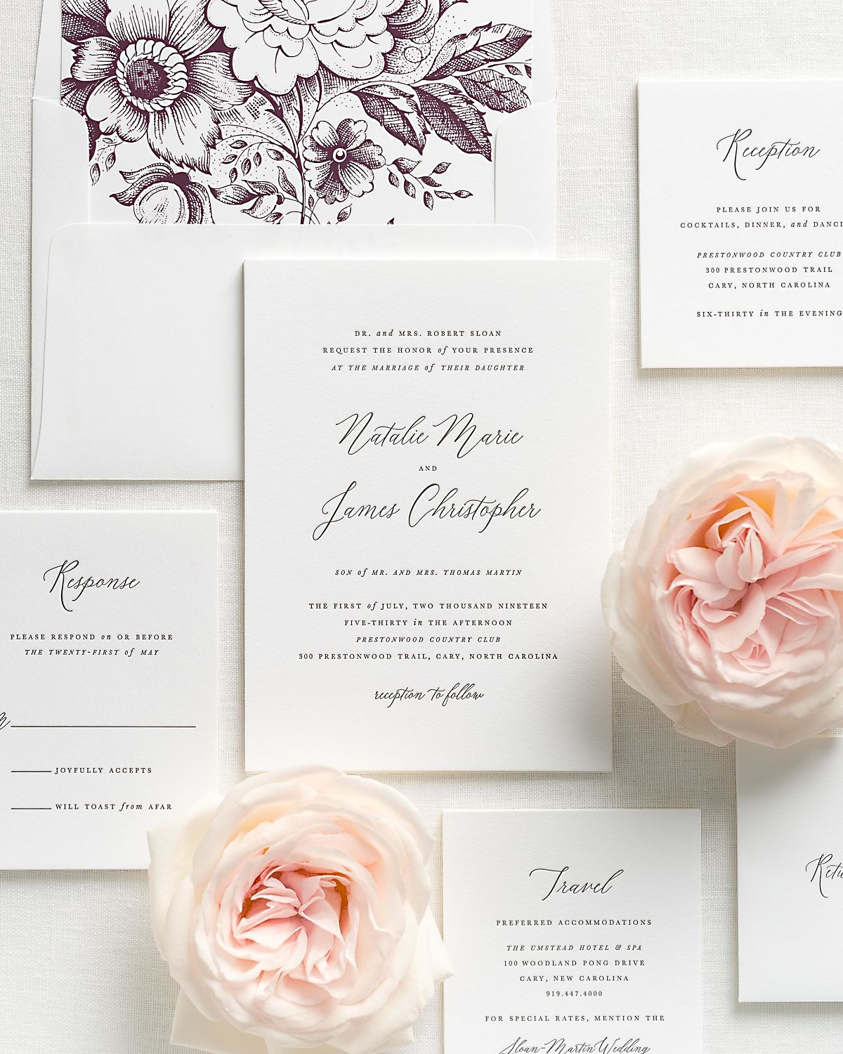 Letterpress Wedding Invitations with Fig Garden Rose Envelope Liner and Matching Accessories