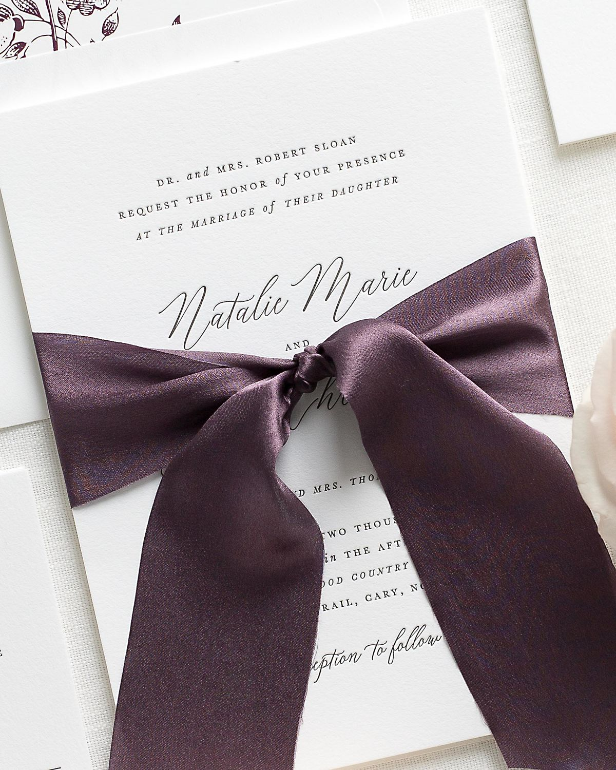 Letterpress Wedding Invitations with Mulberry Ribbon