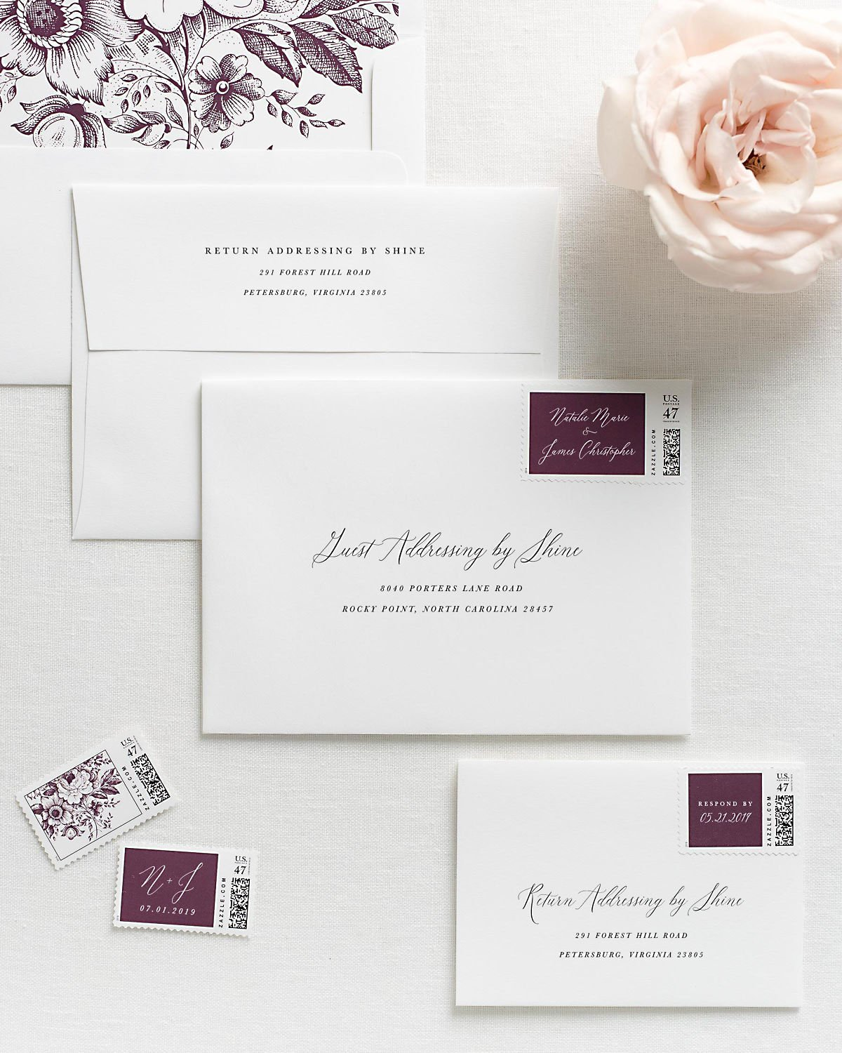 Wedding Invitation Envelopes with Pre-Printed Addresses and Matching Purple Personalized Postage