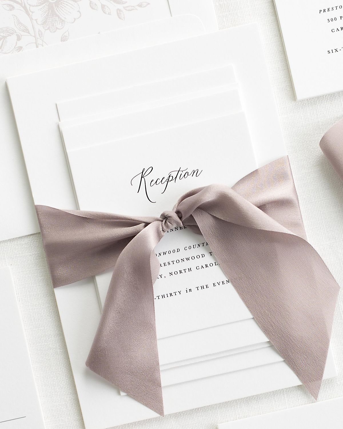 Complete Wedding Stationery Package with Purple Heather Ribbon and Enclosures