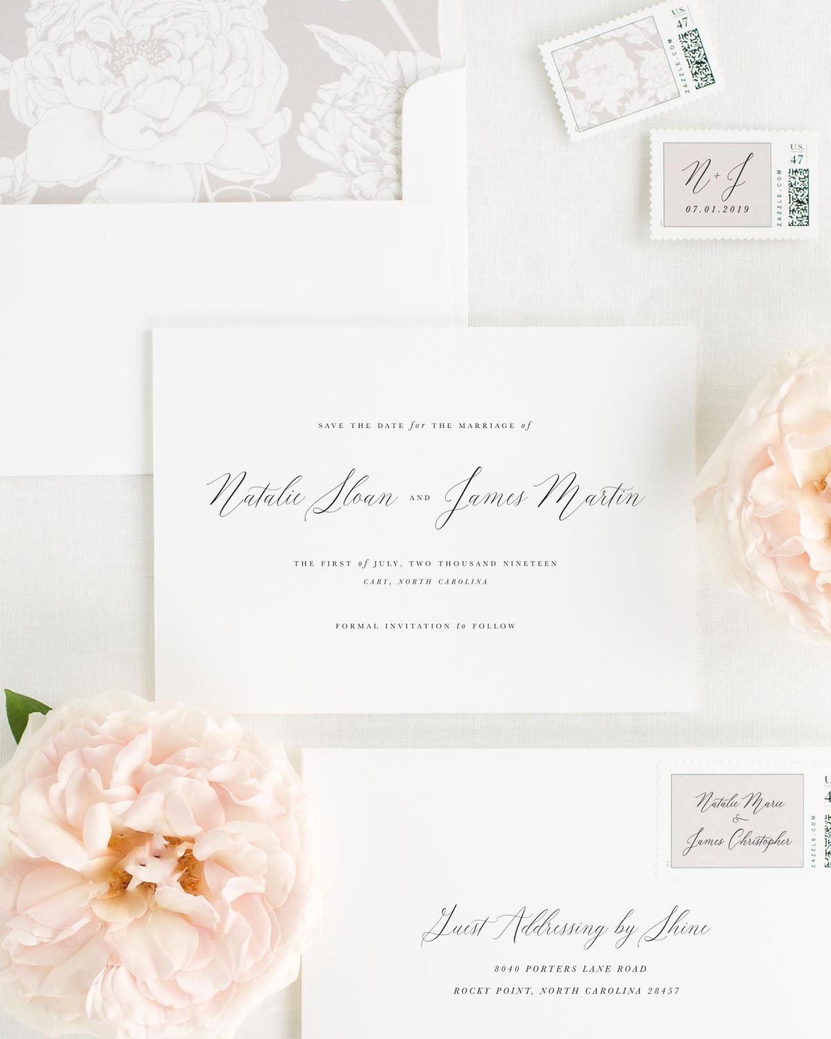 Save the Date with Sweet Pea Envelope Liner and Personalized Stamps