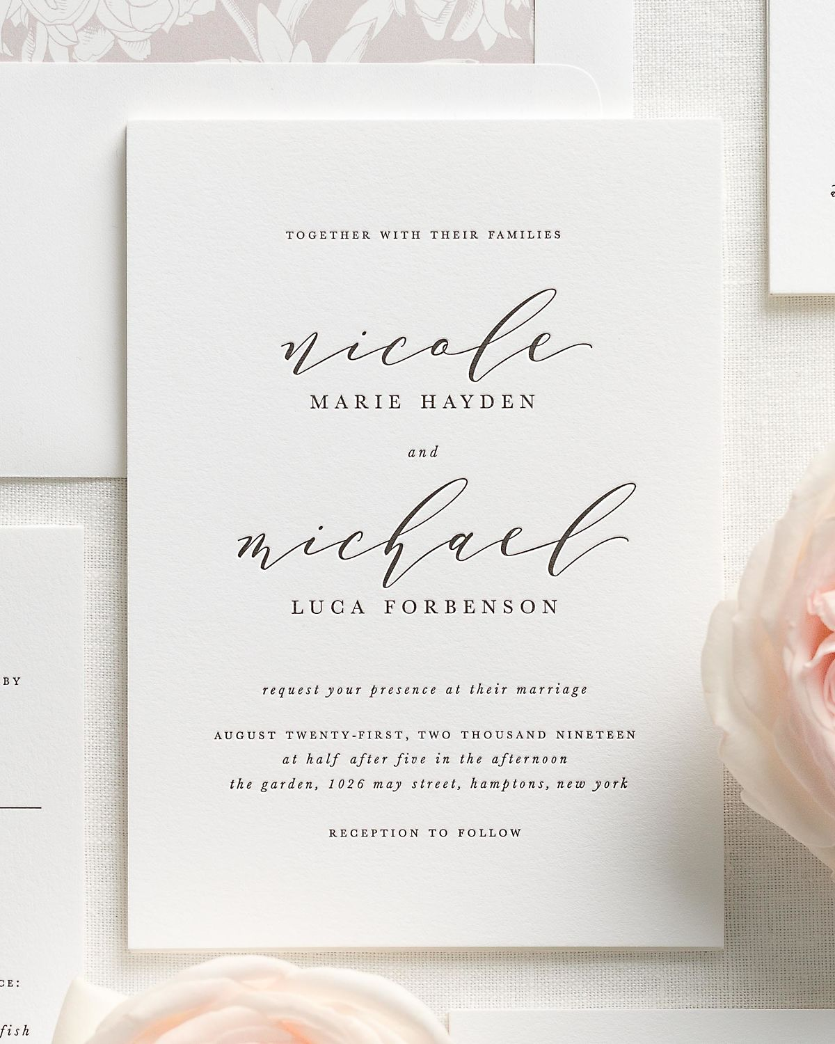 Sweet Pea Wedding Invitation Suite With Letterpress Printing