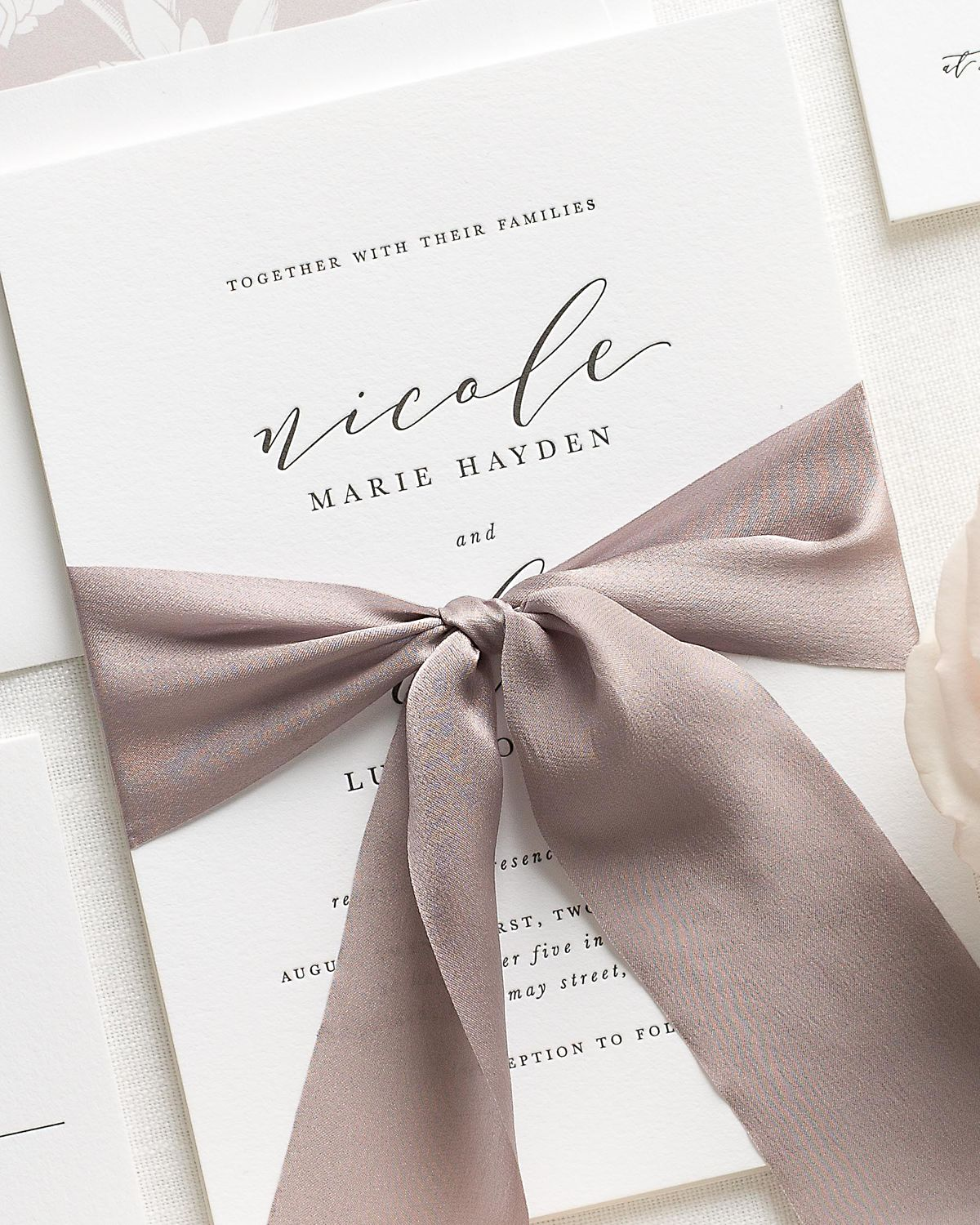 Letterpress Wedding Invitations with Heather Ribbon