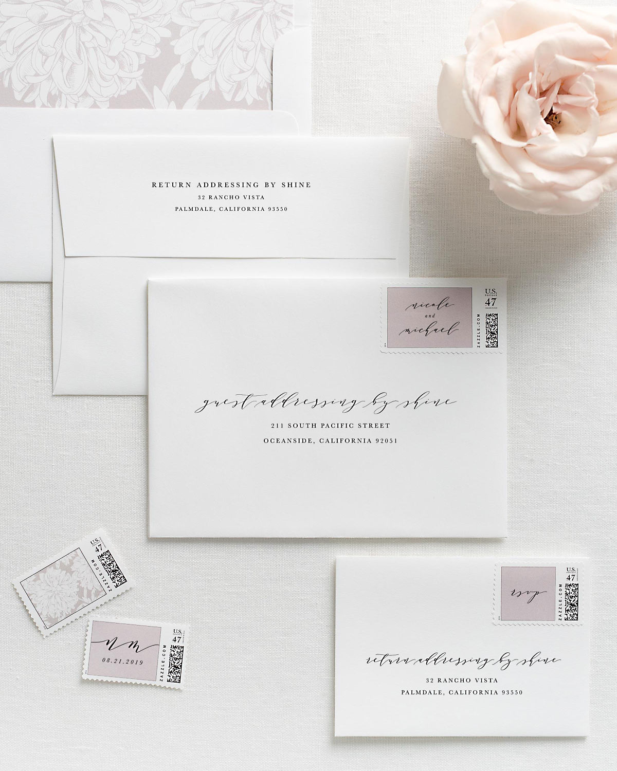 Wedding Invitation Envelopes with Pre-Printed Addresses and Matching Sweet Pea Personalized Postage