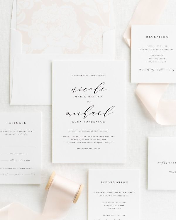blush ribbon wedding invitations with a peach envelope liner