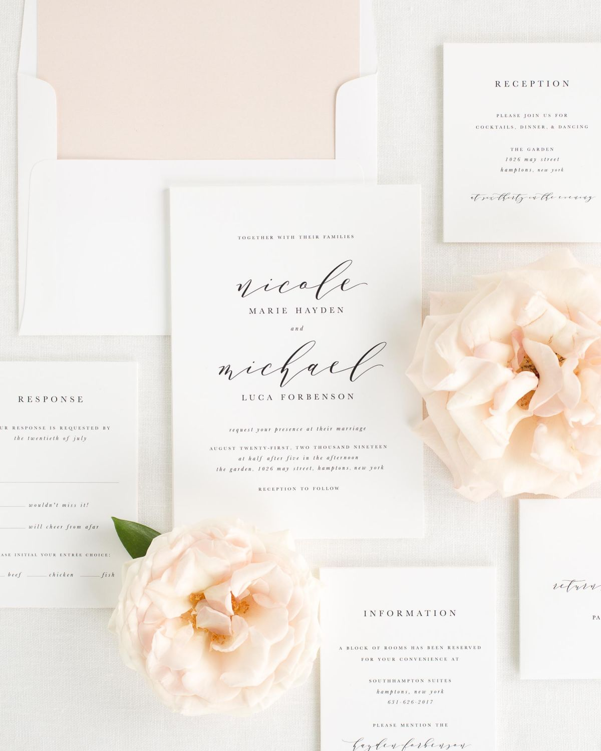 Wedding Invitation Package with Whipped Peach Envelope Liner
