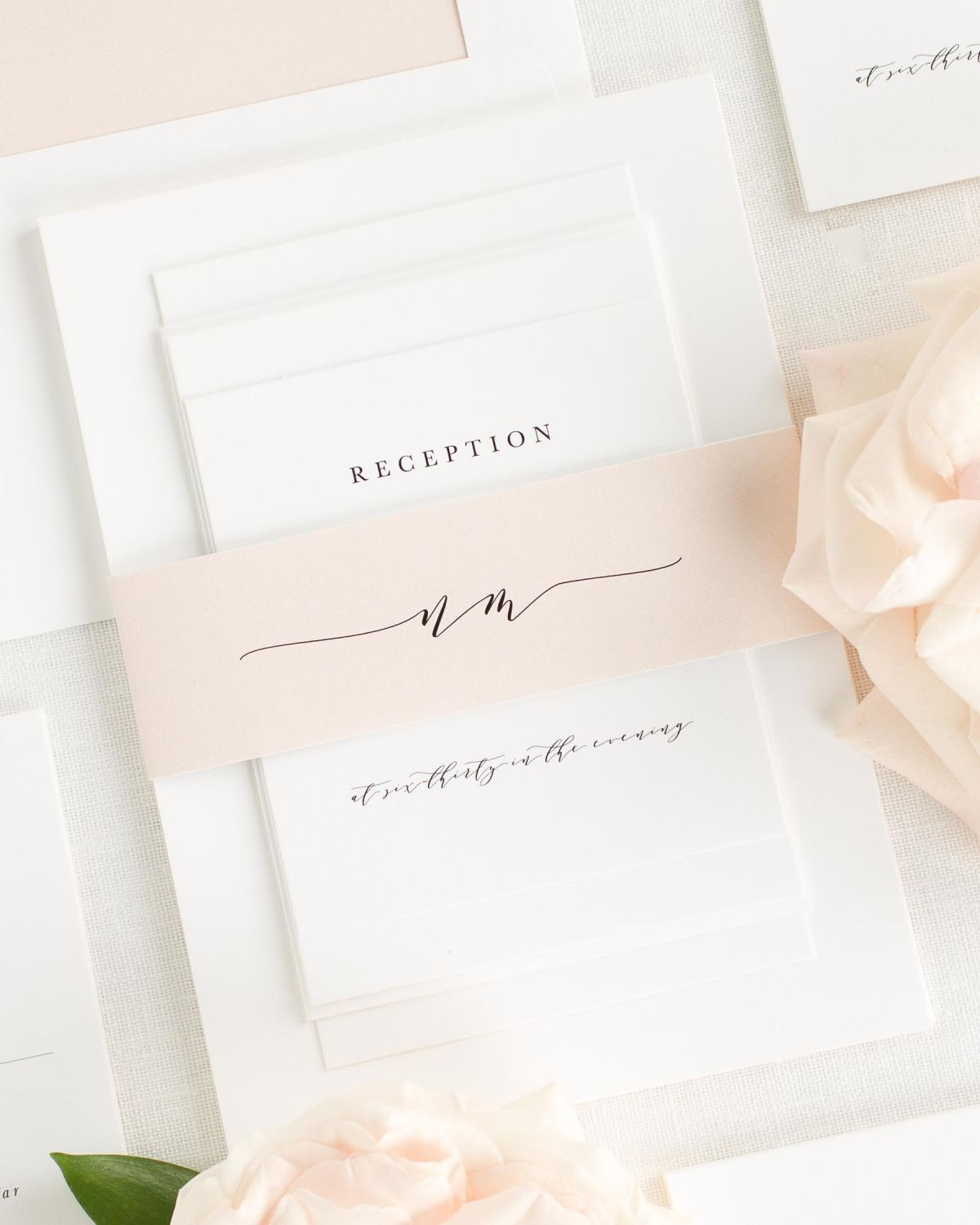 Whipped Peach Wedding Invitations with Belly Band and Solid Envelope Liner