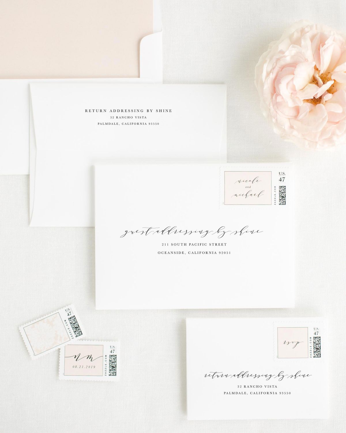 Wedding Invitation Envelopes with Whipped Peach Personalized Postage and Solid Liner
