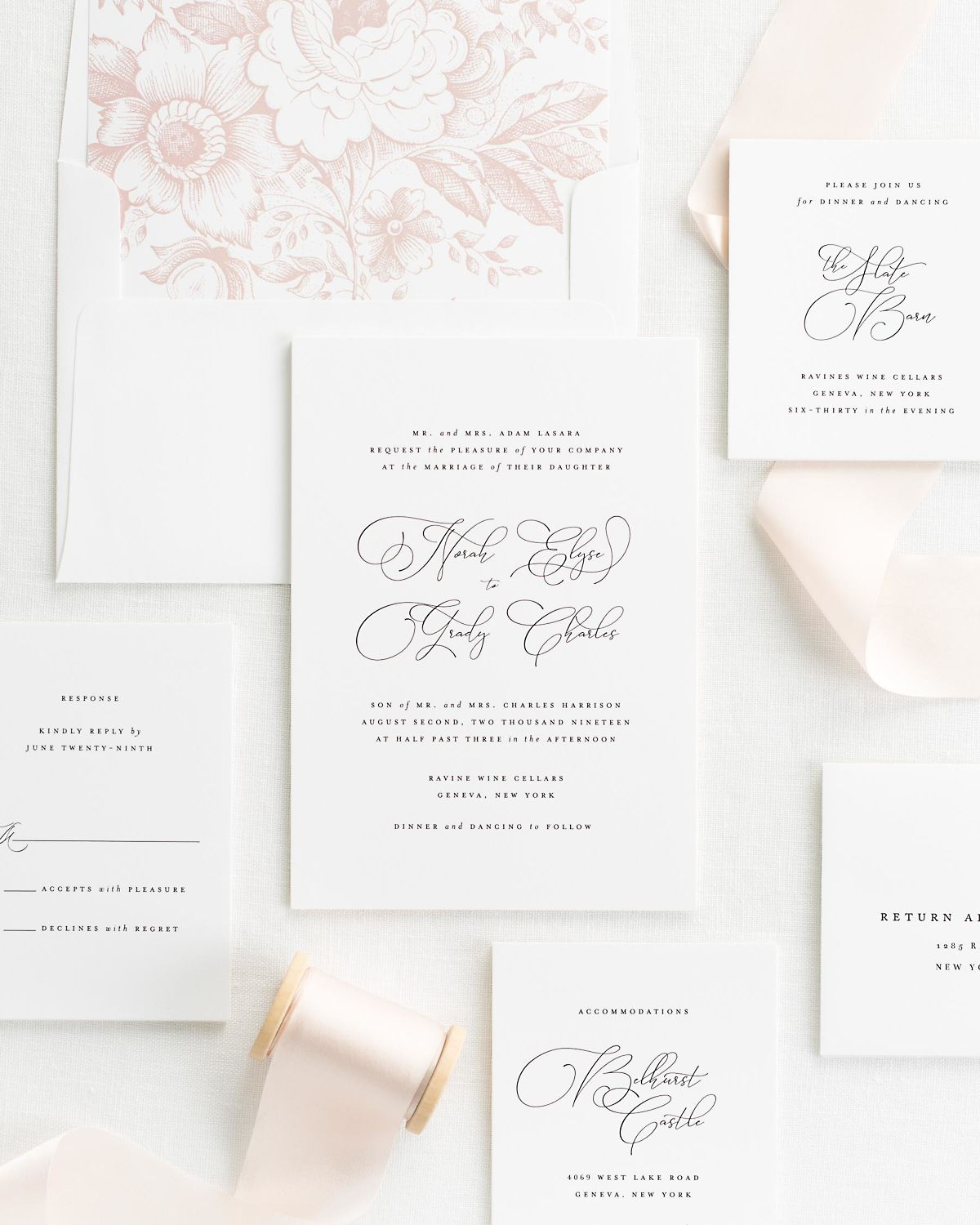 blush ribbon wedding invitations with a rose quartz floral envelope liner