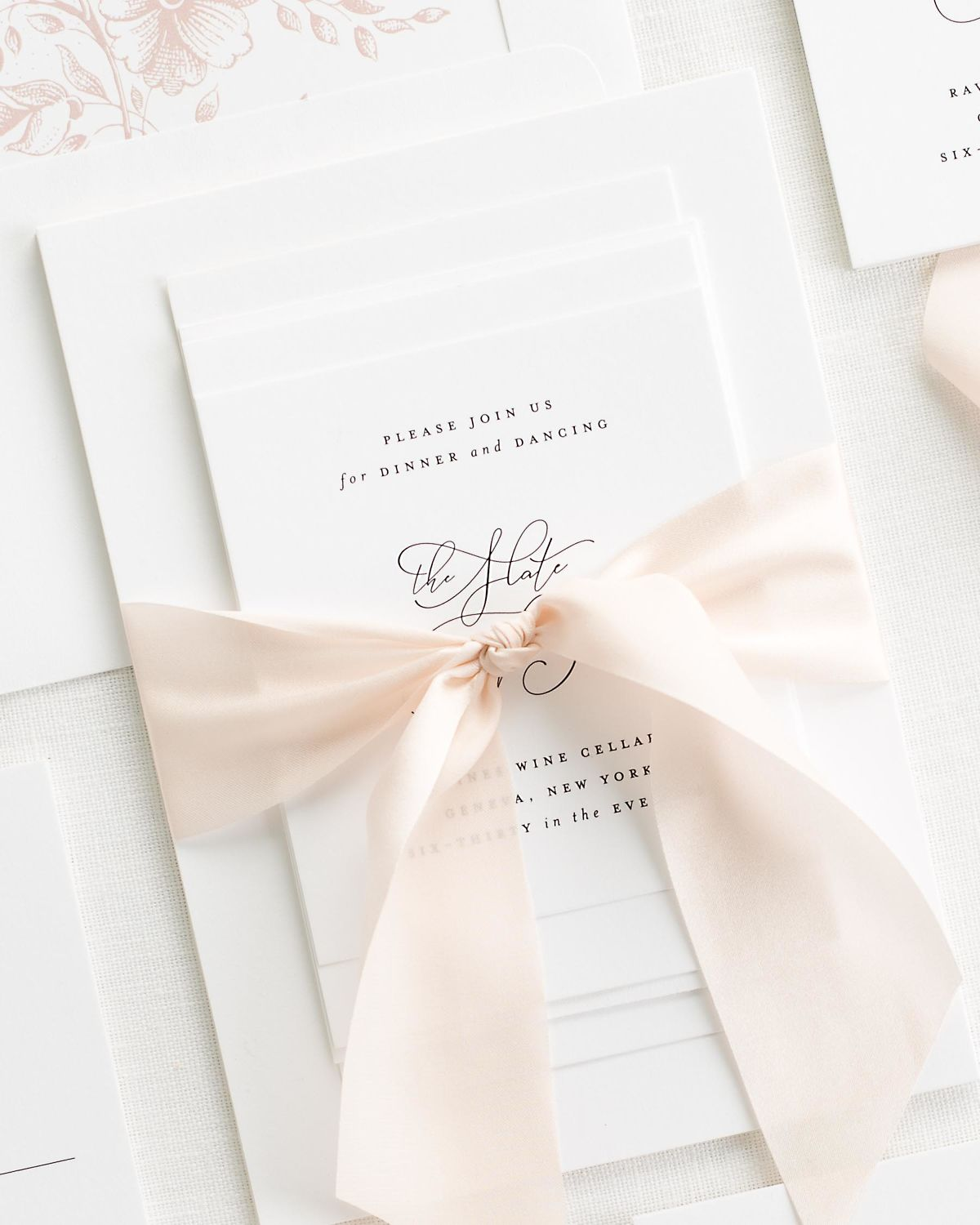 Complete Wedding Stationery Set with Pale Pink Ribbon and Enclosures