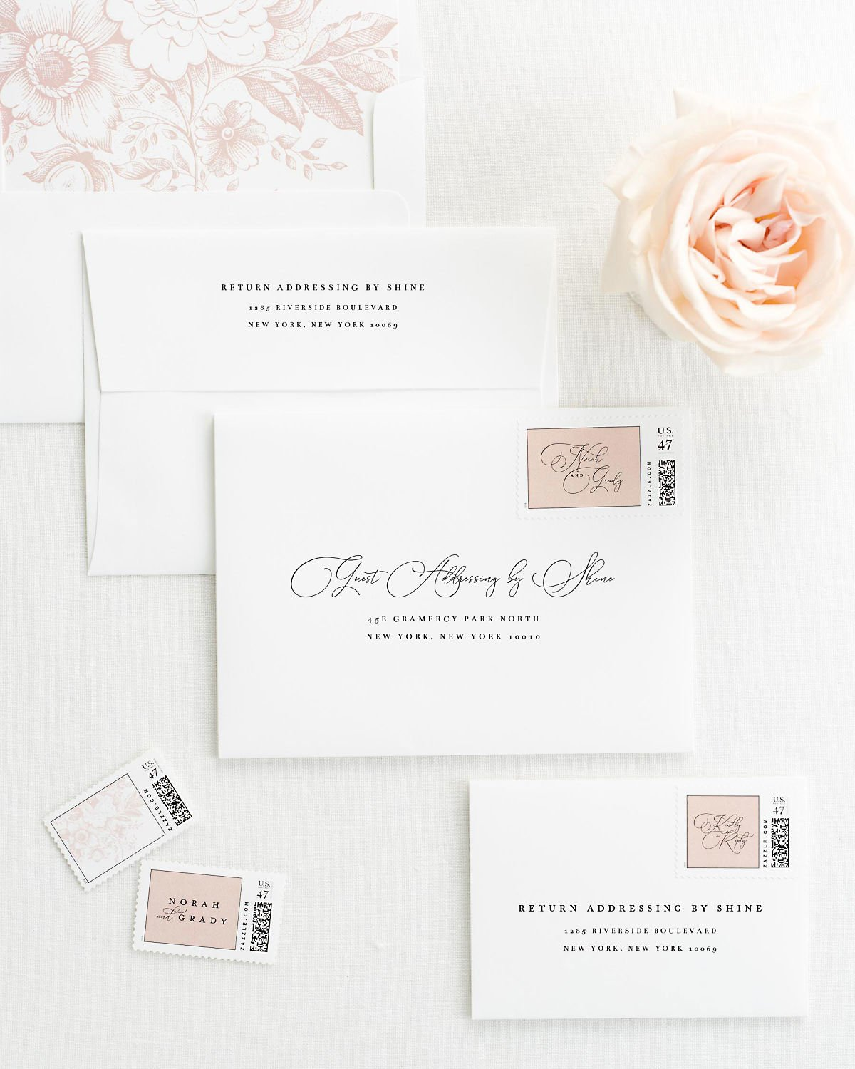 Wedding Invitation Envelopes with Pre-Printed Addresses and Matching Rose Quartz Custom Stamps