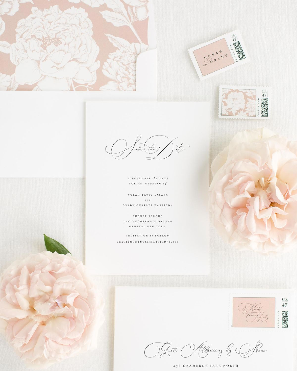 Save the Date with Rose Quartz Envelope Liner and Custom Stamps