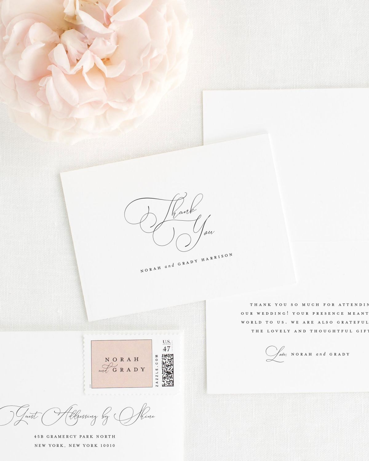 Large Script Names Thank You Cards for Weddings