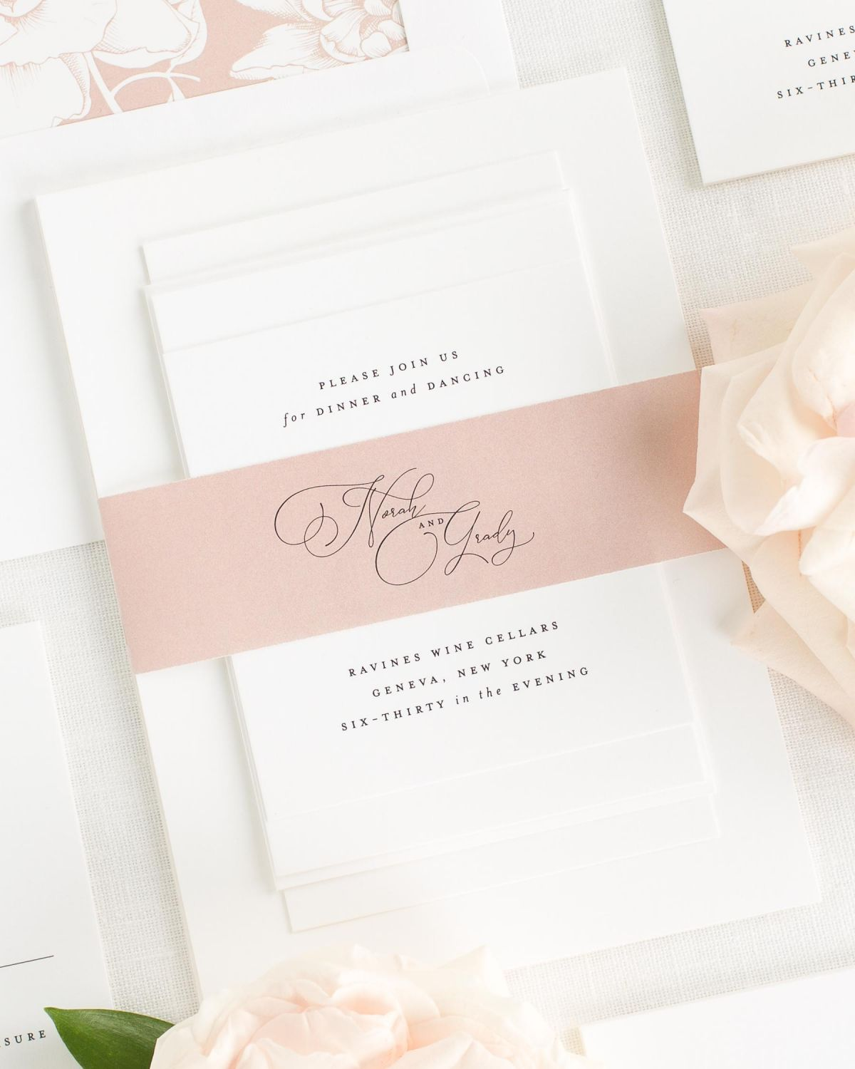Rose Quartz Wedding Invitations with Belly Band and Blooms Envelope Liner