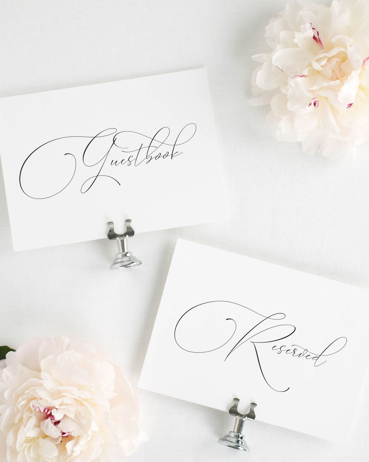 Calligraphy Reserved and Guestbook Signs for a Wedding