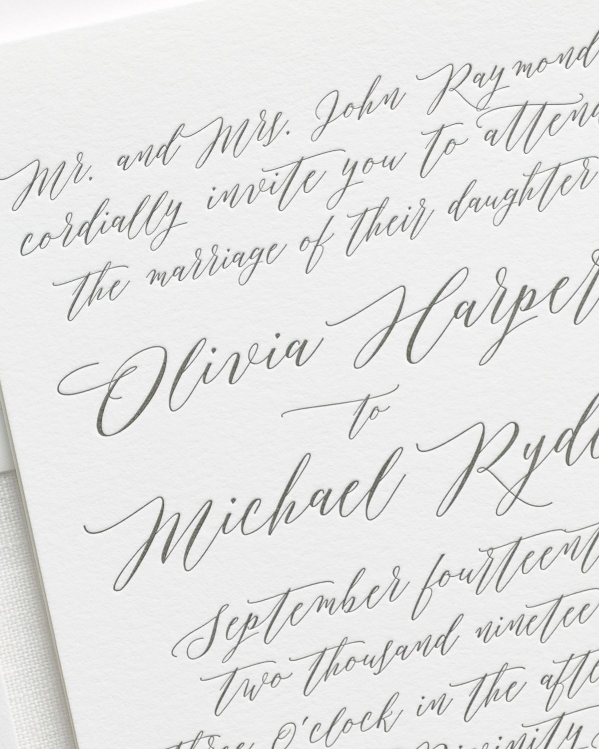 All Calligraphy Letterpress Wedding Invitations