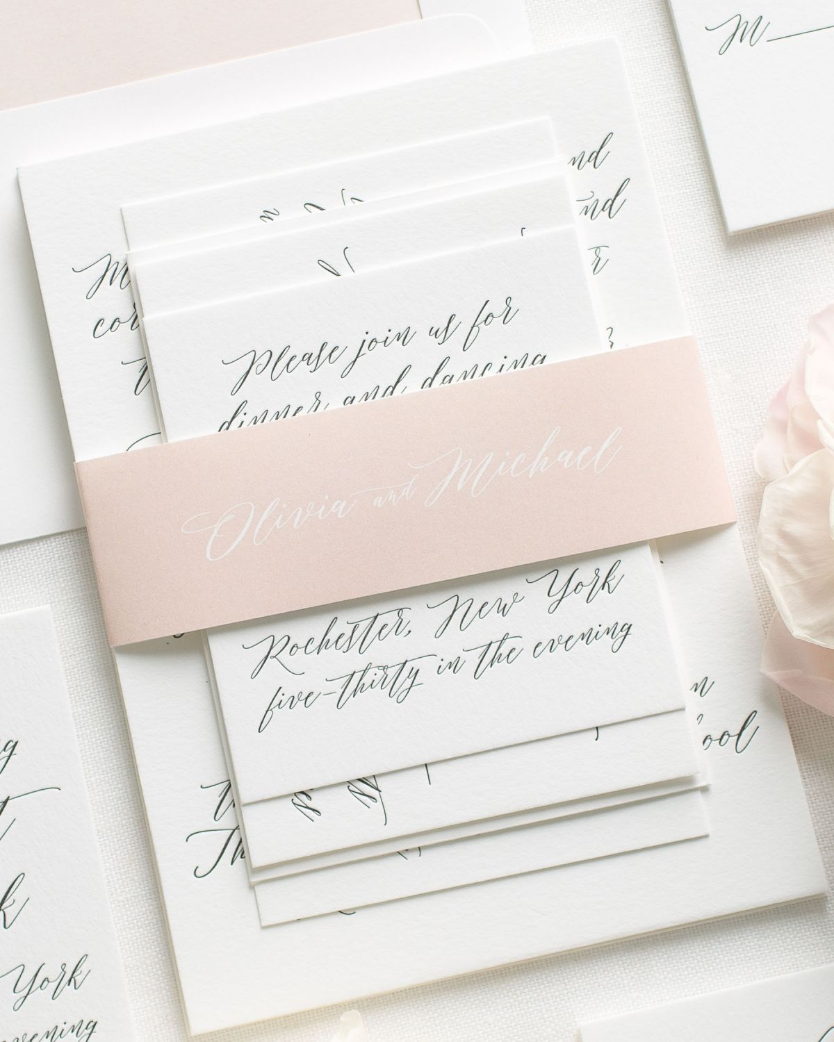 Pink Letterpress Wedding Invitations with calligraphy names